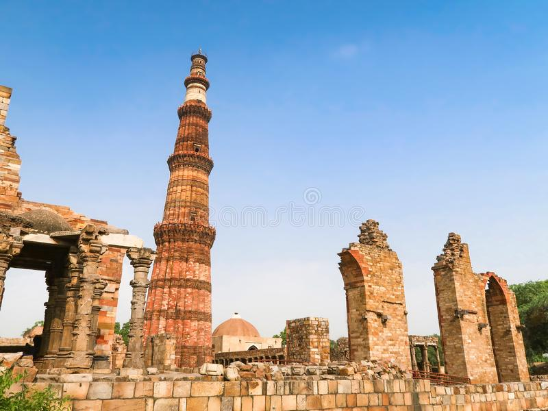 Qutub Minar, UNESCO World Heritage Site in New Delhi, India. Qutub Minar, the tallest minaret in the world in New Delhi, India royalty free stock photography