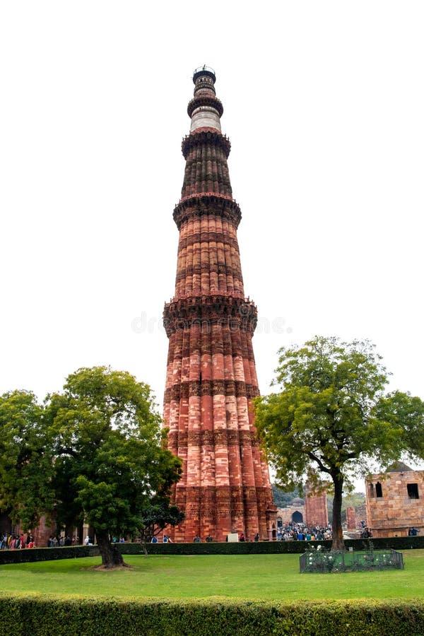 Qutub Minar torn i New Delhi, Indien arkivfoton
