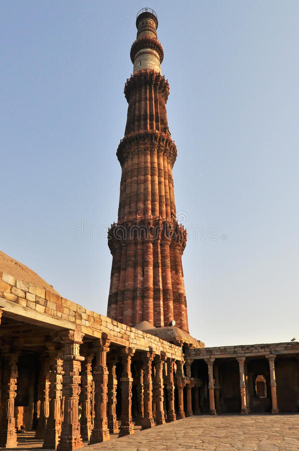 Qutub Minar Tower. In Delhi during the afternoon, India royalty free stock images
