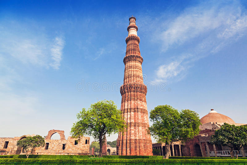 Qutub Minar. Tower in New Delhi, India royalty free stock photos