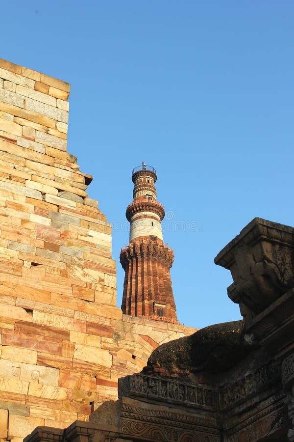 Qutub minar from wall royalty free stock photo
