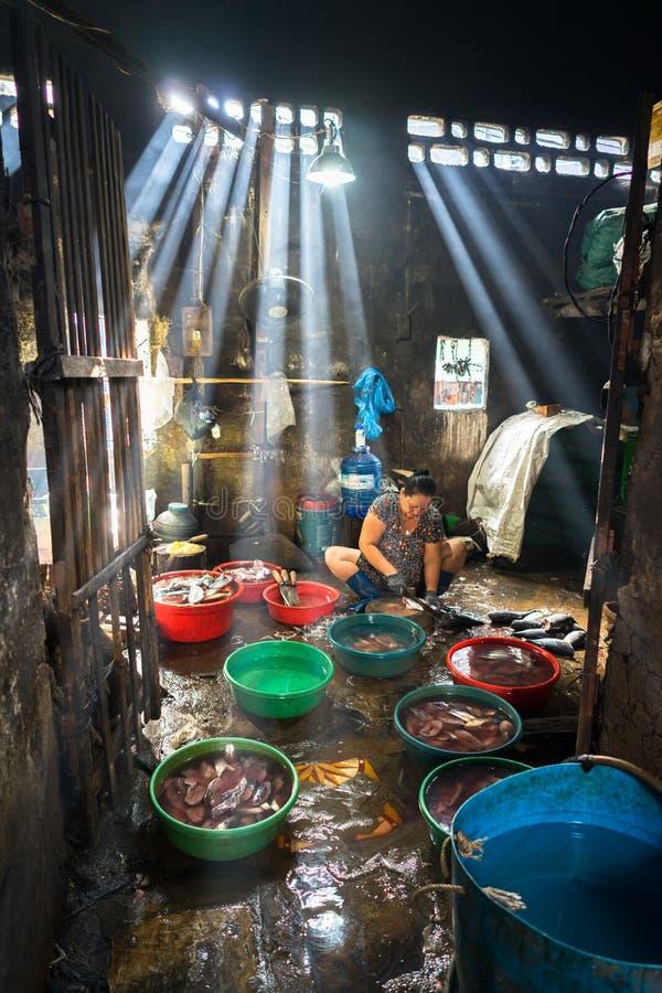 Quy Nhon, Vietnam - 22 ottobre 2016: Frutti di mare che elaborano al mercato ittico in Quy Nhon, Vietnam del sud fotografie stock