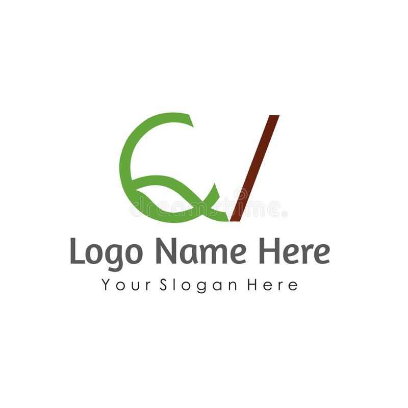 QV απλό σχέδιο ύφους λογότυπων φυσικό διανυσματική απεικόνιση