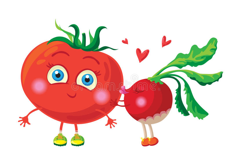 Rábano en amor con el tomate Conjunto del trabajo del vector characters stock de ilustración