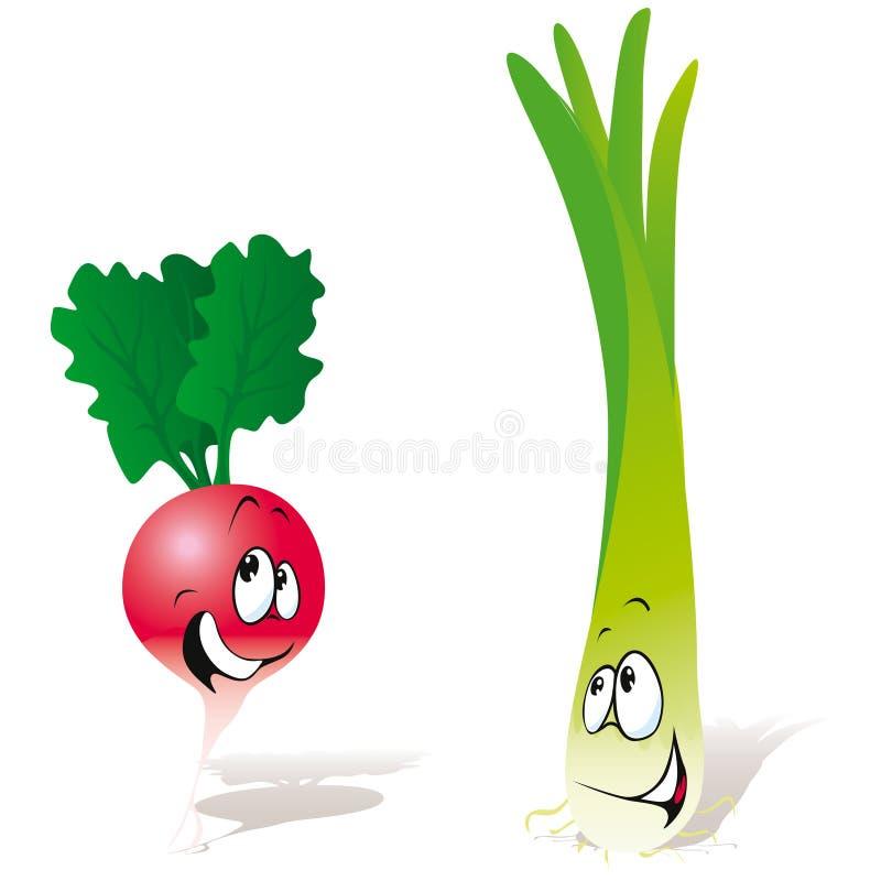 Rábano y cebolla verde ilustración del vector