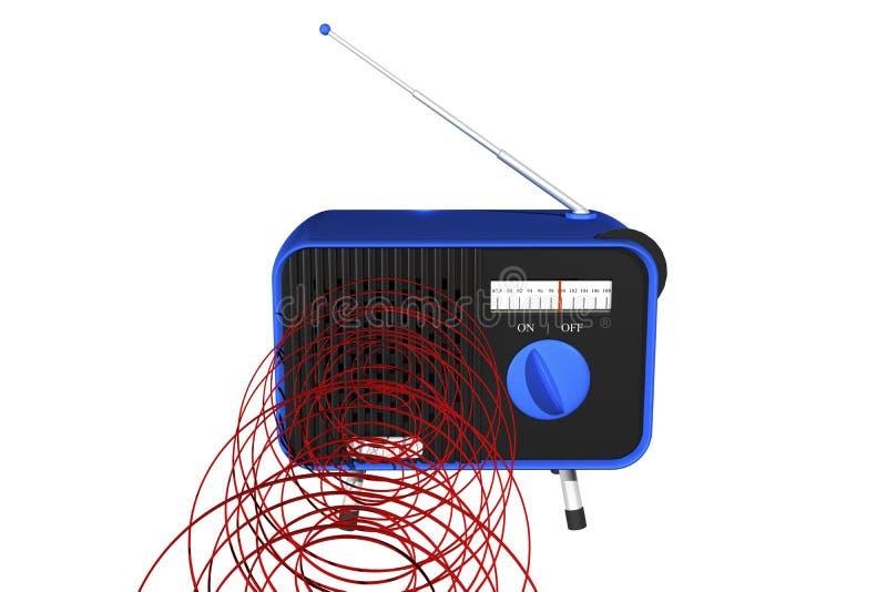 Rádio azul com ondas ilustração do vetor