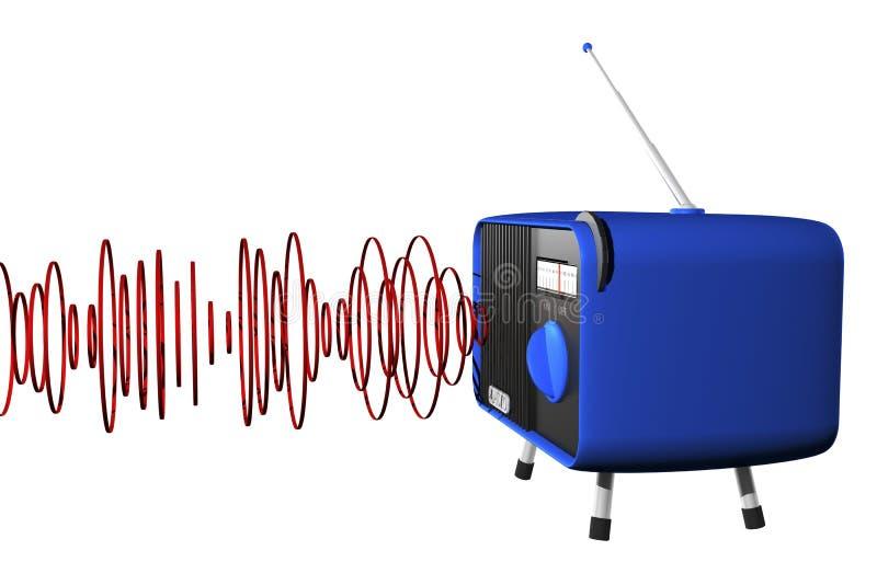 Rádio azul com ondas ilustração royalty free