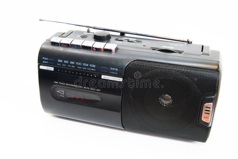 Rádio clássico preto isolado fotografia de stock
