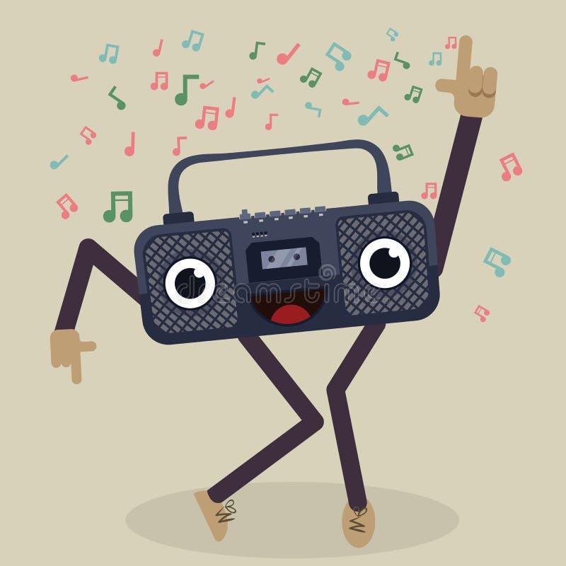 Rádio da dança dos desenhos animados ilustração stock