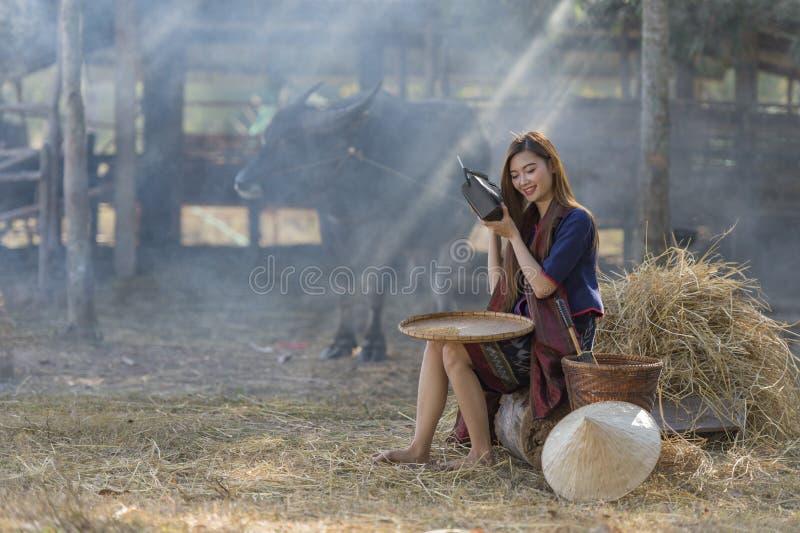 Rádio de escuta em seu fundo da exploração agrícola, campo Tailândia do fazendeiro tailandês da mulher imagem de stock royalty free