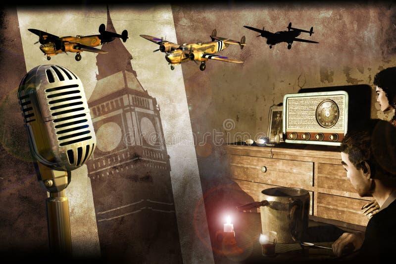Rádio de Londres na segunda guerra mundial ilustração royalty free