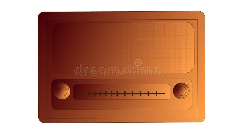 Rádio retangular do moderno do vintage antigo retro retro velho de bronze, receptor de rádio da música com a inscrição redonda do ilustração stock