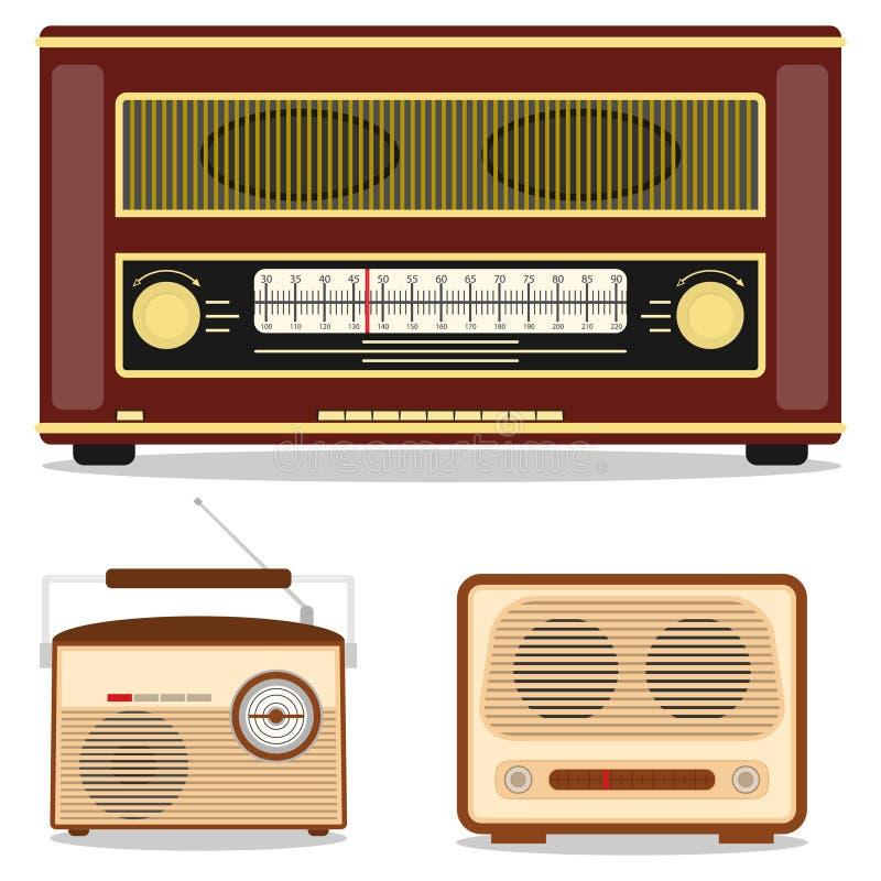 Rádio retro, grupo de rádio retro Escute a estação de rádio ilustração do vetor