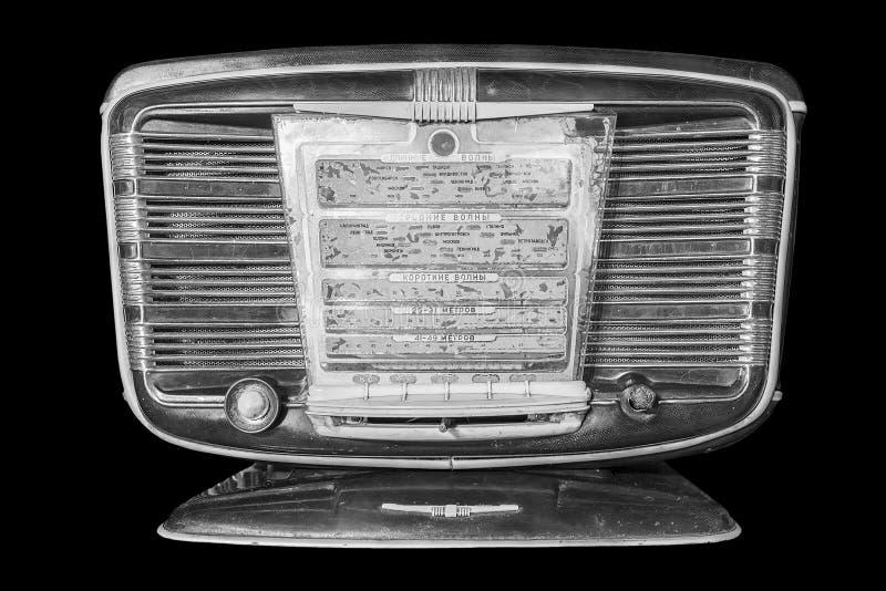 Rádio retro inscrição do painel de exposição no russo: waveband de imagem de stock royalty free