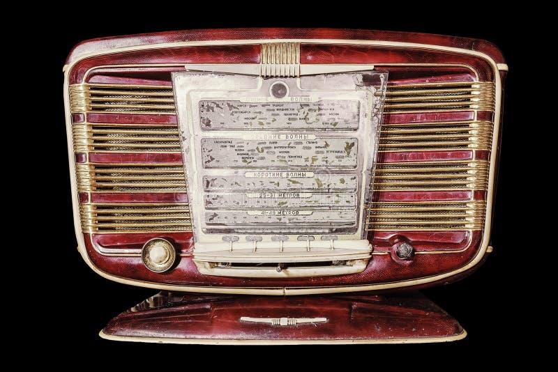 Rádio retro inscrição do painel de exposição no russo: waveband de fotografia de stock royalty free
