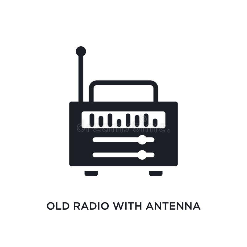 rádio velho com ícone isolado antena ilustração simples do elemento dos ícones finais do conceito dos glyphicons Rádio velho com  ilustração stock