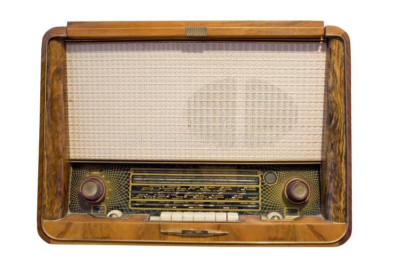 Rádio velho isolado no branco imagem de stock