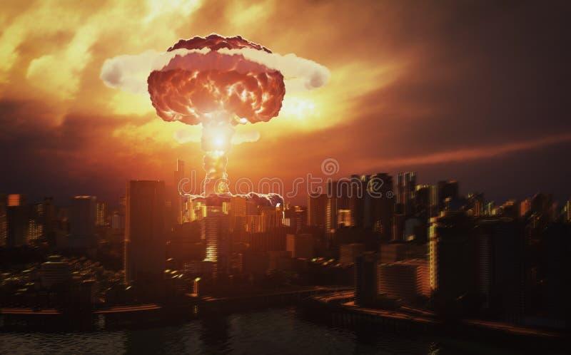 Ráfaga de bomba atómica en desierto stock de ilustración