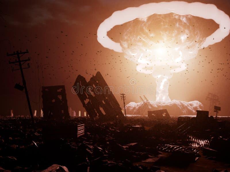 Ráfaga de bomba atómica en desierto libre illustration