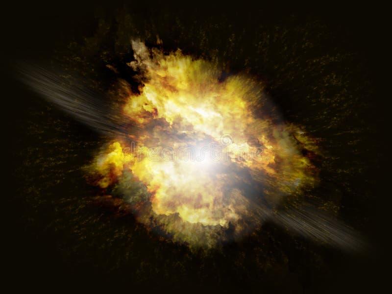 Ráfaga de gran alcance de la explosión en fondo oscuro stock de ilustración
