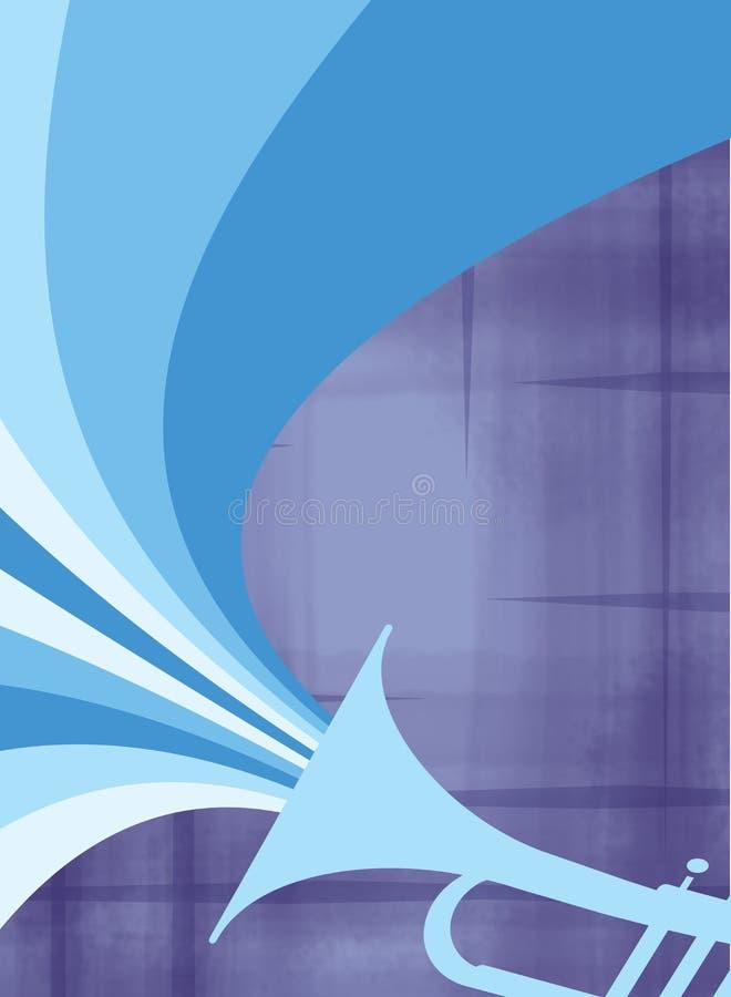 Ráfaga del claxon del jazz: Azul stock de ilustración
