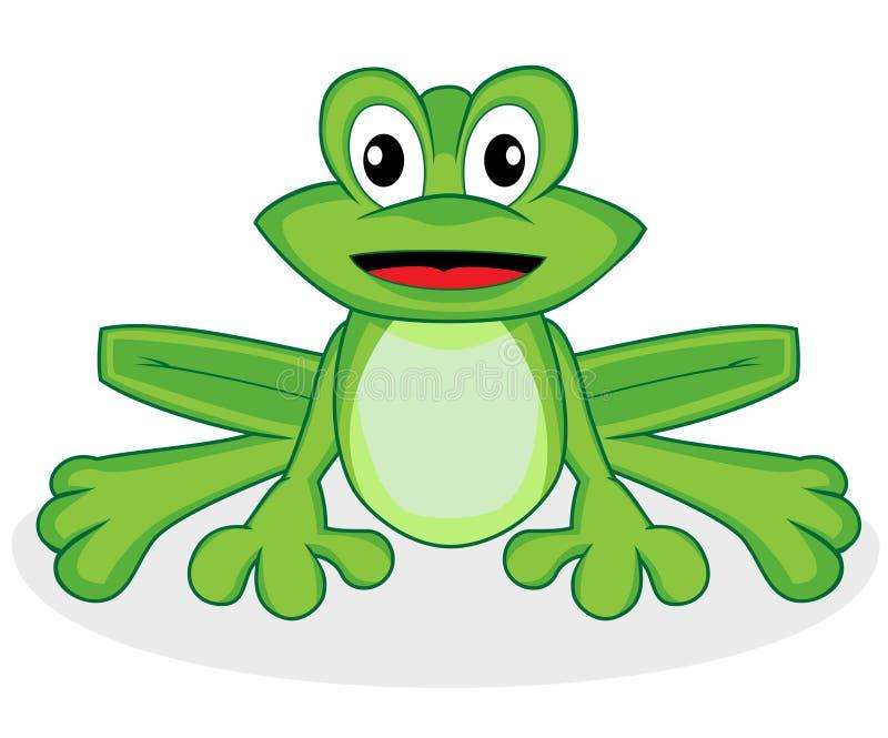 Râ verde minúscula de vista feliz bonito com olhos grandes ilustração stock