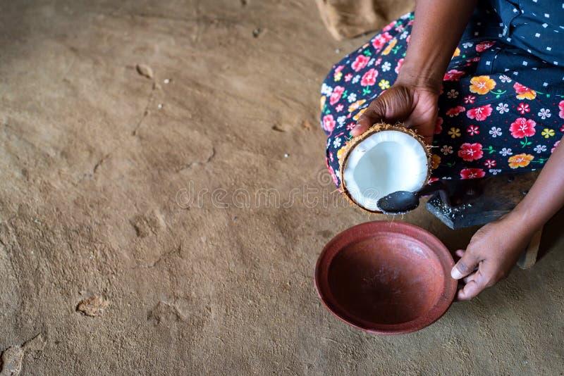 Râpe de noix de coco de coprah dans des mains de femme indienne photos libres de droits