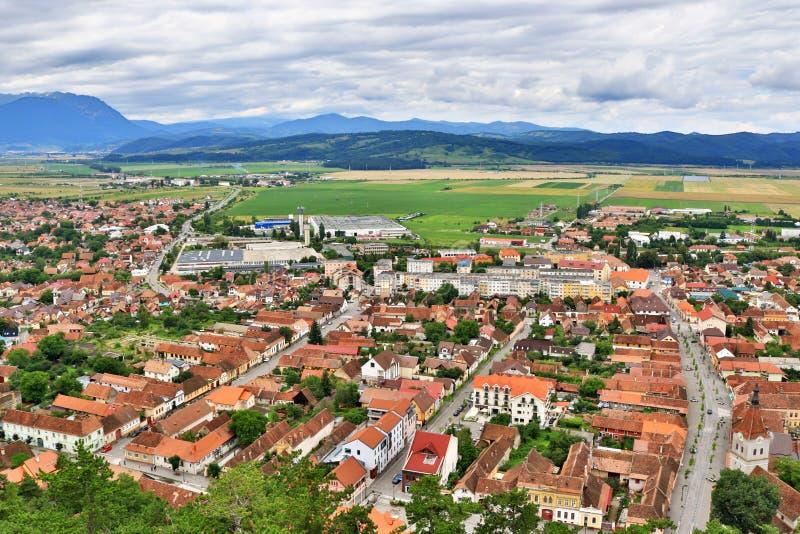 Râșnov town aerial view Transylvania Romania royalty free stock images