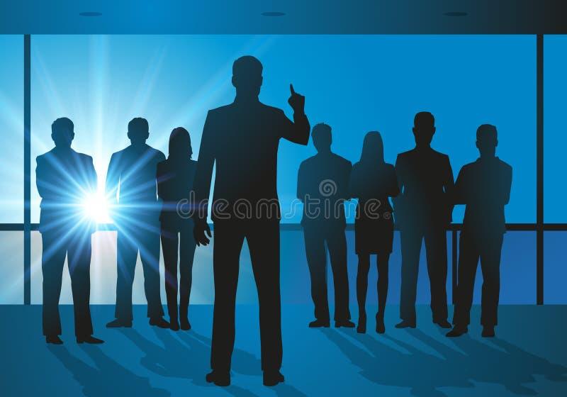 Réunion dans une entreprise entre les collaborateurs et leur patron ilustracji