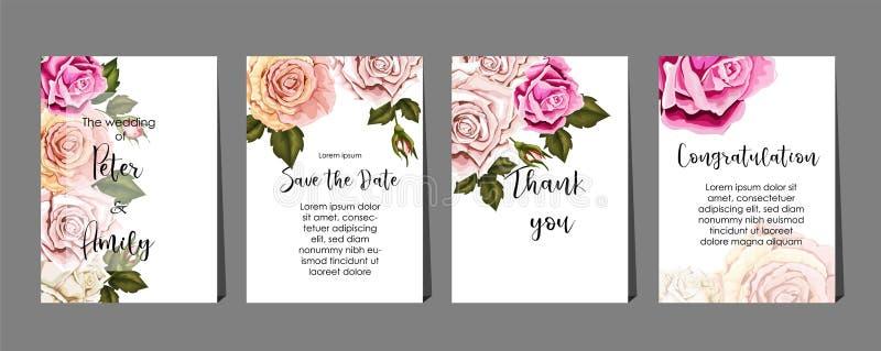 Róże na kartach ustawiają, poślubiać, wita, zaproszenie, urodziny, gratulacje royalty ilustracja