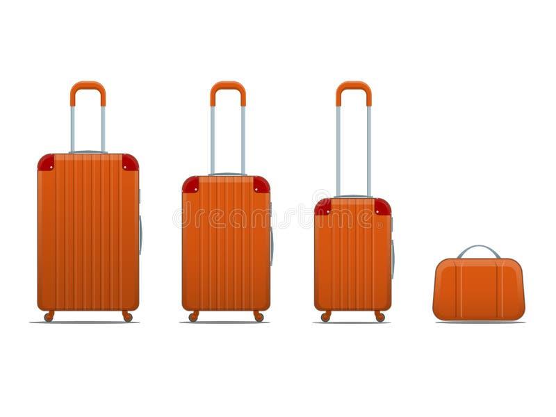 Różnego kolorowego biznesu i rodzinnego wakacje podróży bagaż zdojest, torebka bagaż nowożytny Set walizki i royalty ilustracja