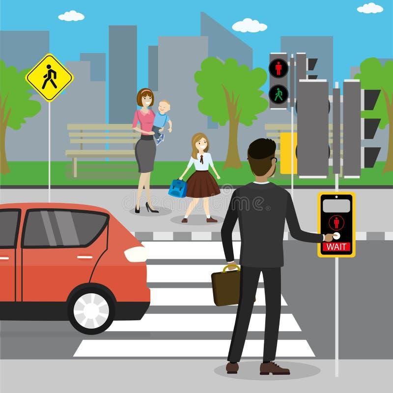 Różni pedestrians w crosswalk ilustracja wektor