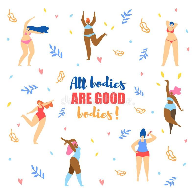 Różni rozmiary kobiety w bikini tanu i typy ilustracji