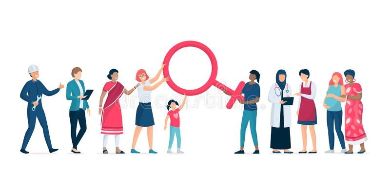 Różnorodne kobiety stoi wpólnie i wspiera each inny ilustracja wektor