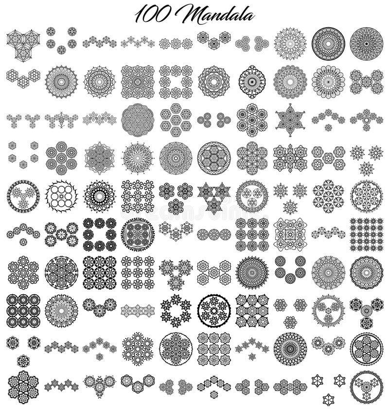 Różnorodne mandala kolekcje 100 setów ilustracji