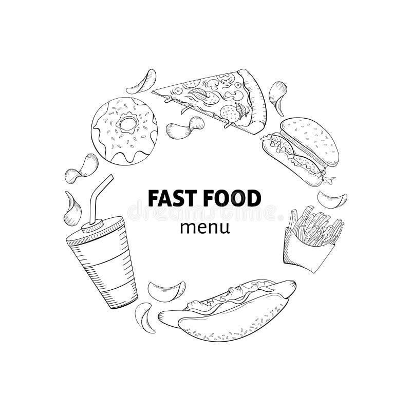 Różnorodny szybkich foods tła doodle styl royalty ilustracja