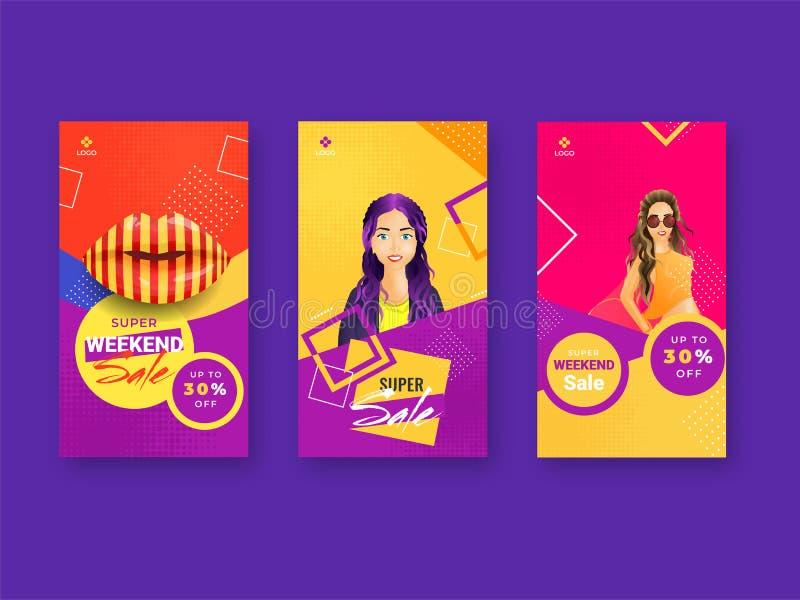 Różnorodny typ Super weekendowej sprzedaży szablonu projekt ilustracji