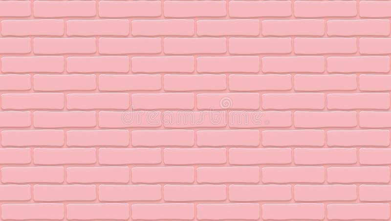 Różowa ściana z cegieł tekstura tło pusty Rocznik stonewall Izbowy projekta wnętrze Tło dla kawiarni Wysokiej jakości bezszwowy ilustracja wektor