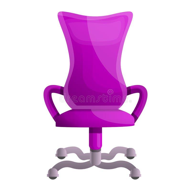 Różowa biurka krzesła ikona, kreskówka styl ilustracja wektor