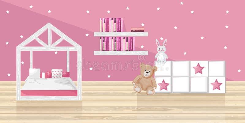 Różowej dziewczyny sypialni mieszkania Wektorowy styl Zabawki i książki na różowych tło ilustracji