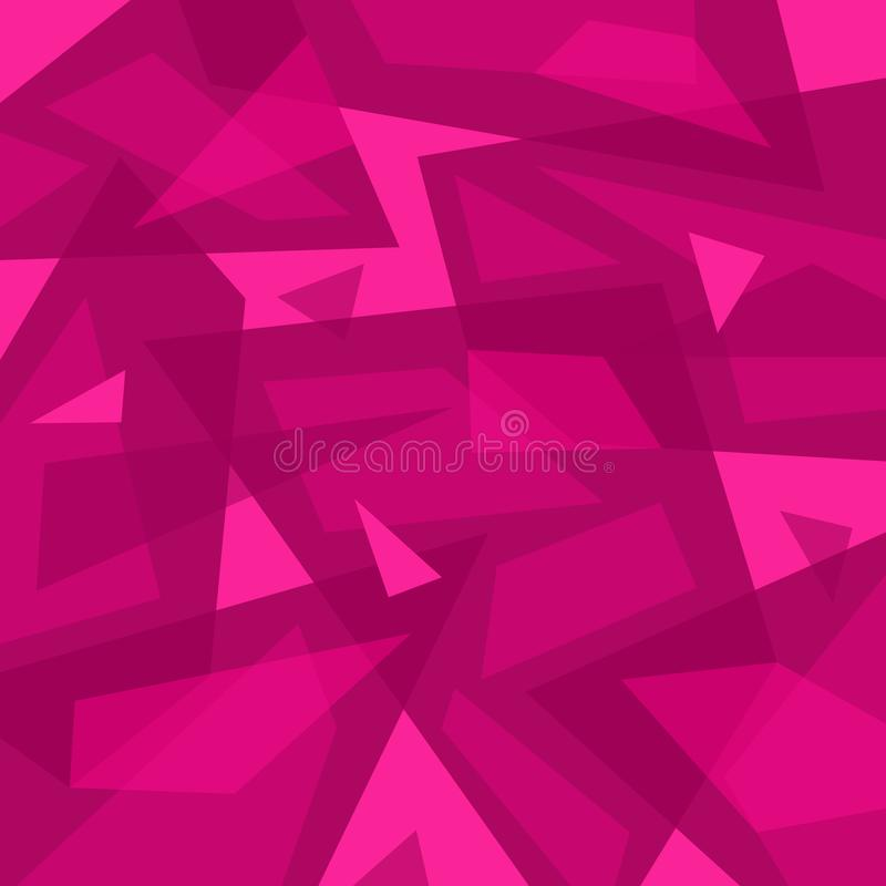 Różowy abstrakcjonistyczny geometryczny tło Rozrzuceni czerepy ilustracji