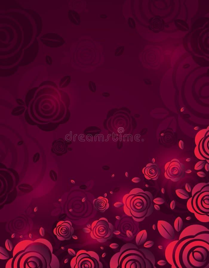 Różowy tło z ognistym wzrastał, wektorowa ilustracja Walentynka dnia projekt z czerwonymi kwiatami Może używać dla powitanie kart royalty ilustracja
