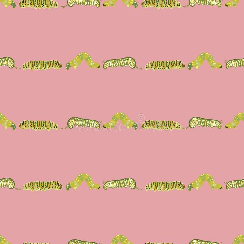 Różowy wzór z gąsienicą royalty ilustracja