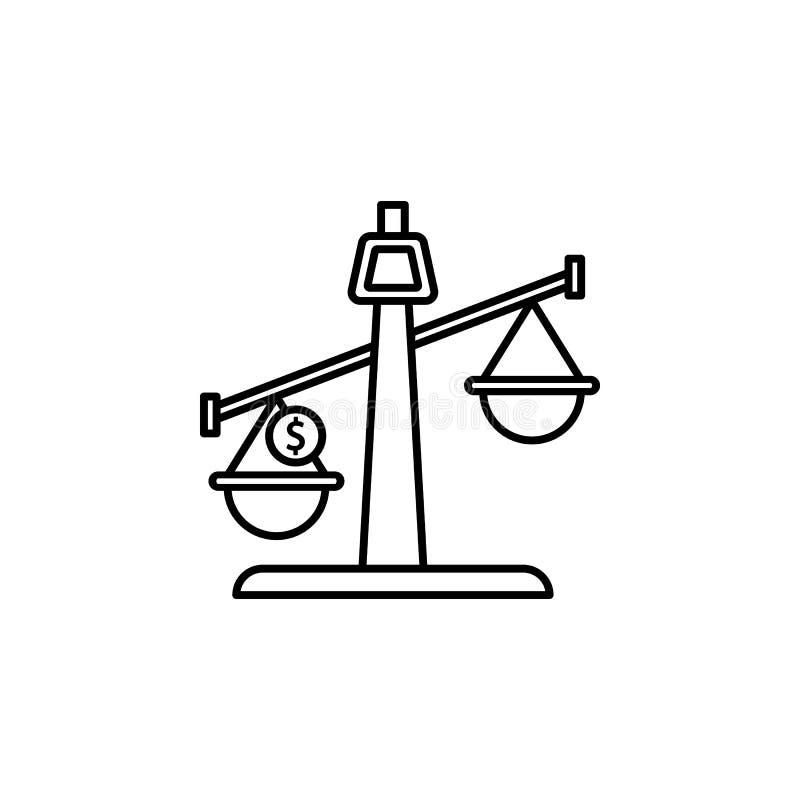 Równowaga, pieniądze, mennicza ikona Element prawa i sprawiedliwości ikona Cienka kreskowa ikona dla strona internetowa projekta  ilustracja wektor
