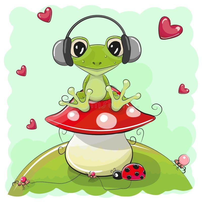 Rã bonito dos desenhos animados com fones de ouvido ilustração royalty free