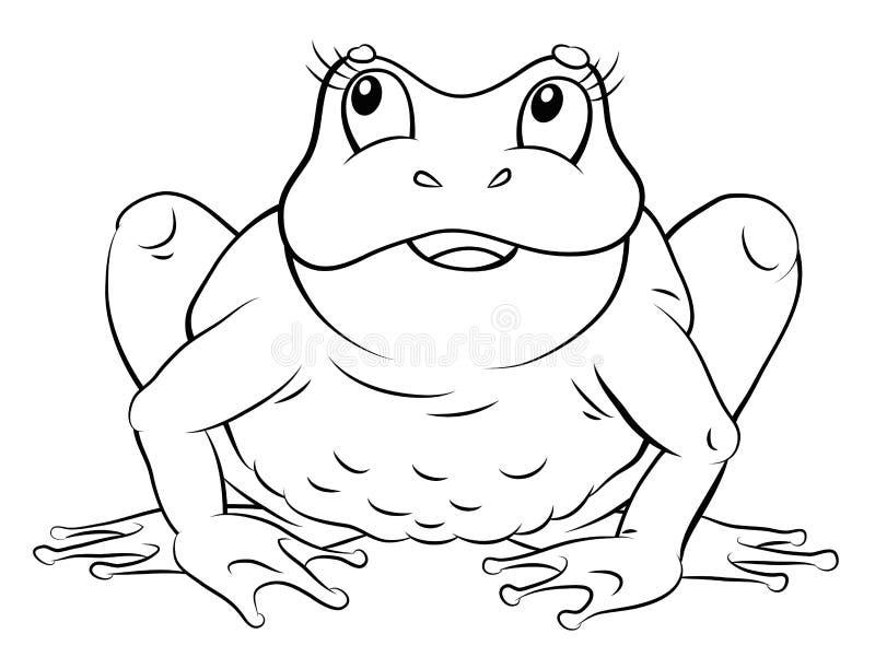 Rã, coloração, a imagem do animal em preto e branco ilustração stock