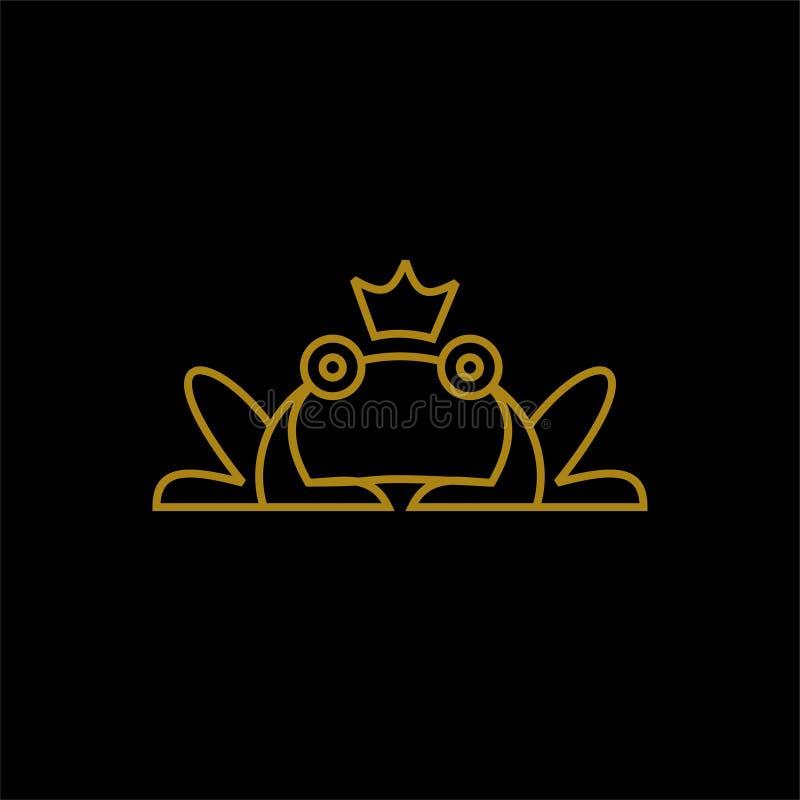 Rã com linha vetor do ouro da coroa dos projetos do ícone do logotipo ilustração royalty free