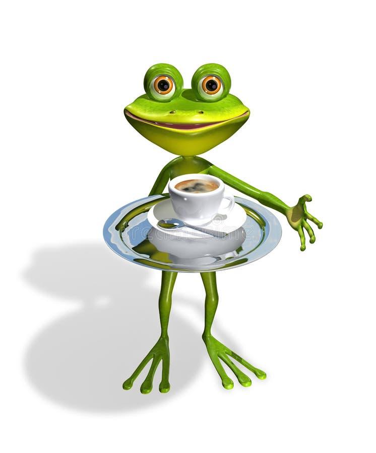 Rã com uma xícara de café ilustração royalty free