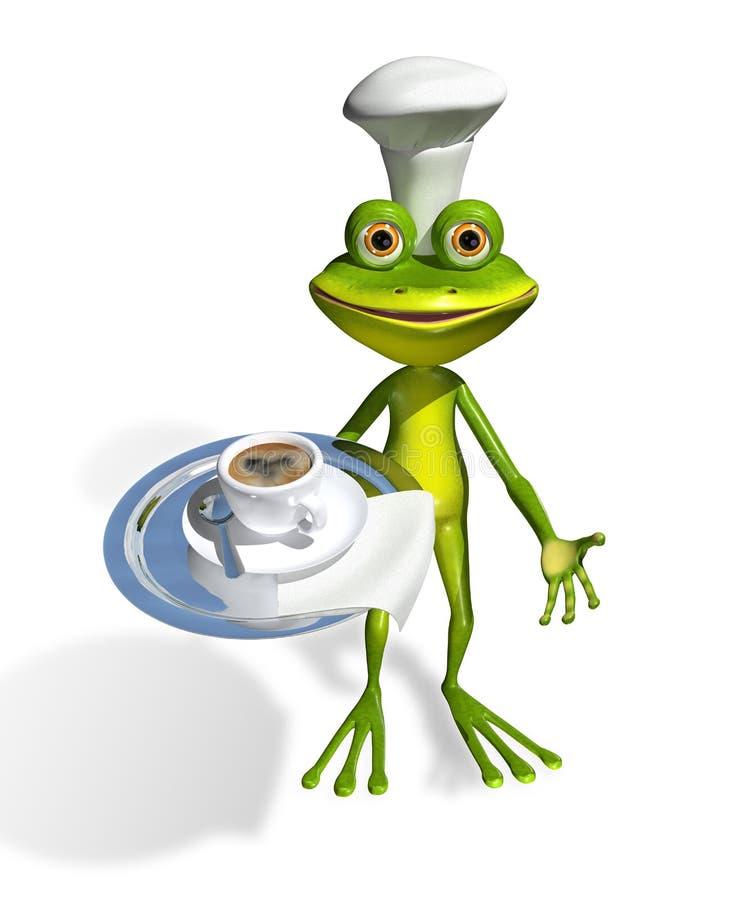 Rã com uma xícara de café ilustração stock