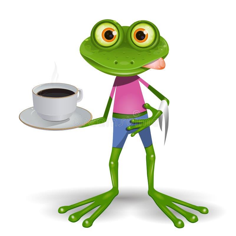 Rã com xícara de café ilustração stock